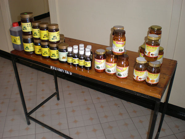 Product line from the Mvuwo Women's Group: pickles, sauces, honey.
